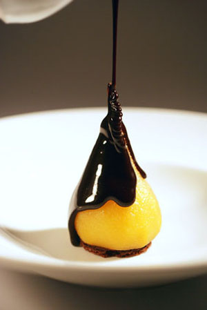 Pear With Fudge Sauce